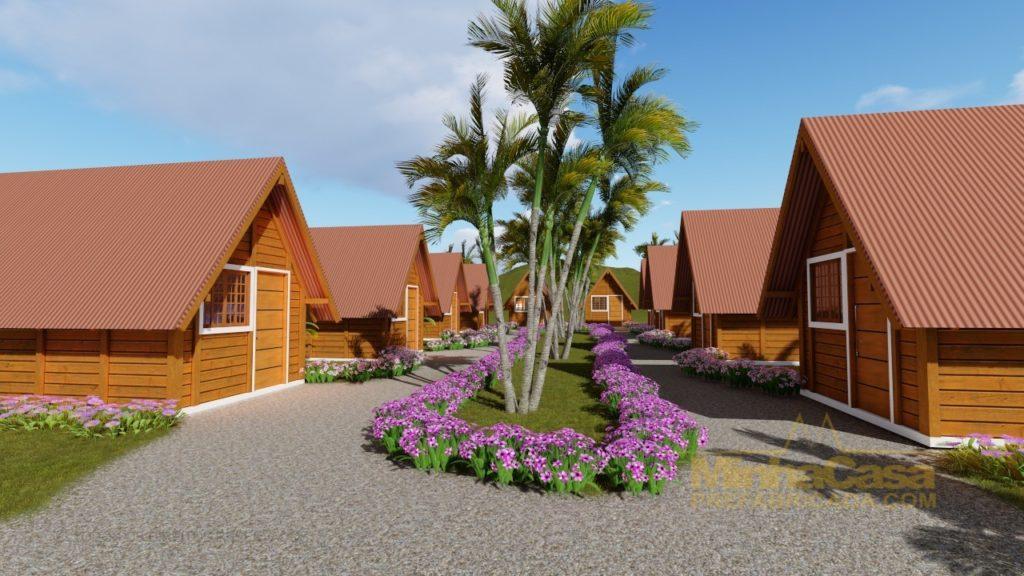 vila de chalé de madeira pousada pop 1.0