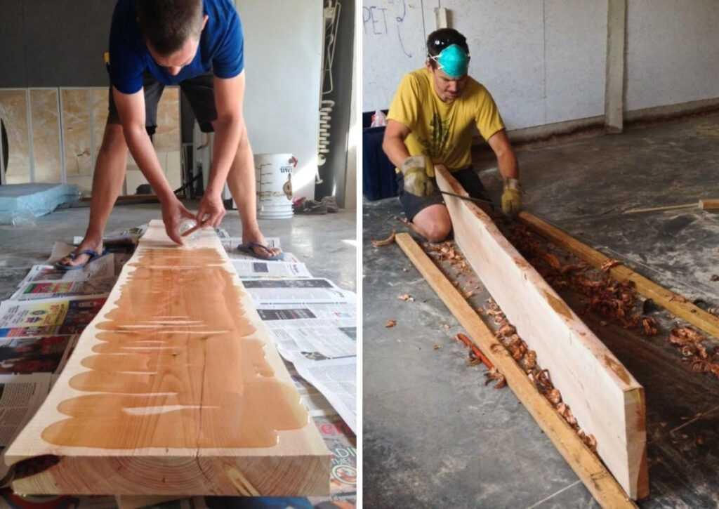 escolhendo as vigas para o chalé de madeira