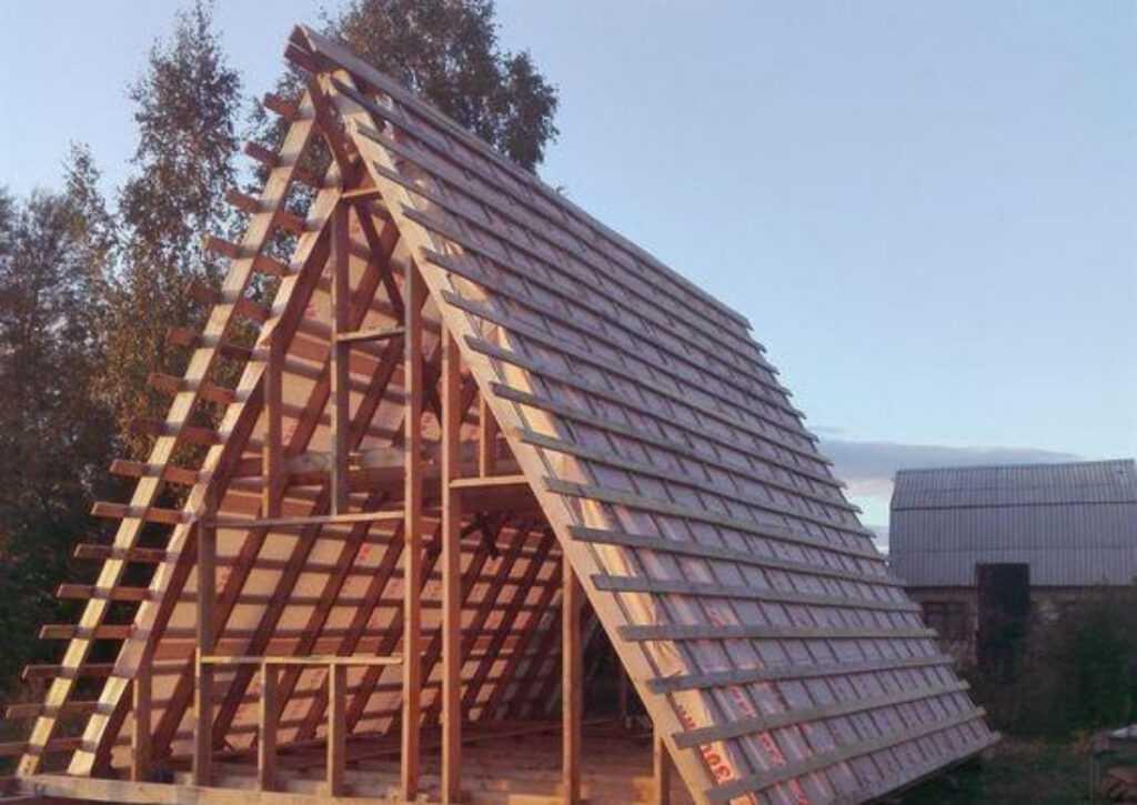 estrutura do telhado de um chalé de madeira
