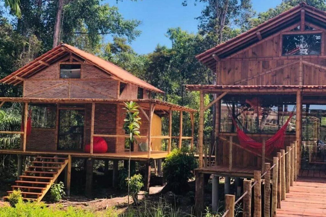 chales no brasil - bahia - bambu chalé flor da vida