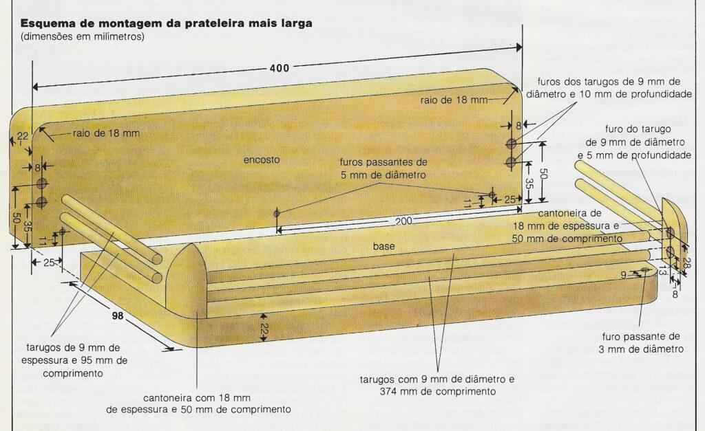 ilustração mostrando como preparar montar o porta-condimentos de madeira