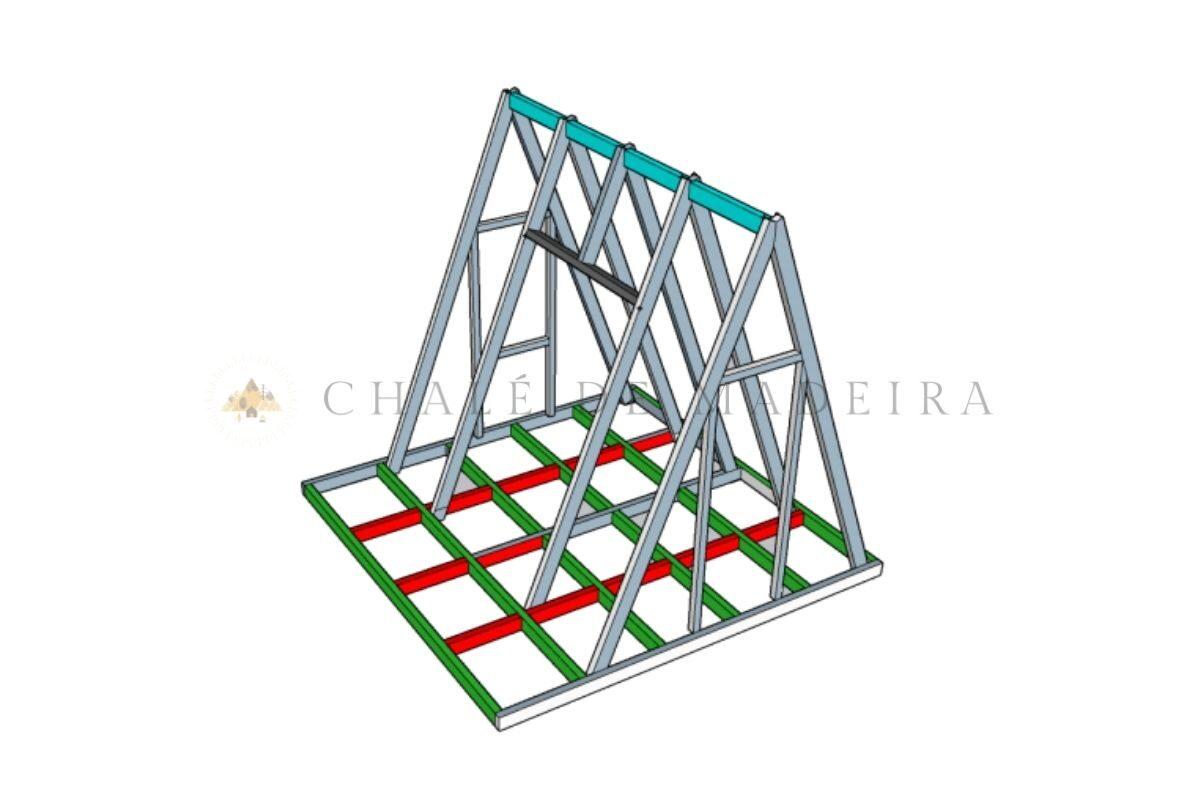 como construir um chalé projeto sketchup angulo 3