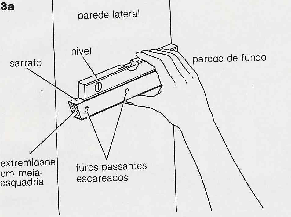 ilustração de instalação de prateleiras no passo 3a