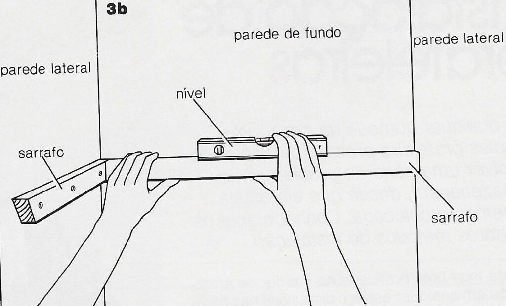 ilustração de instalação de prateleiras no passo 3b