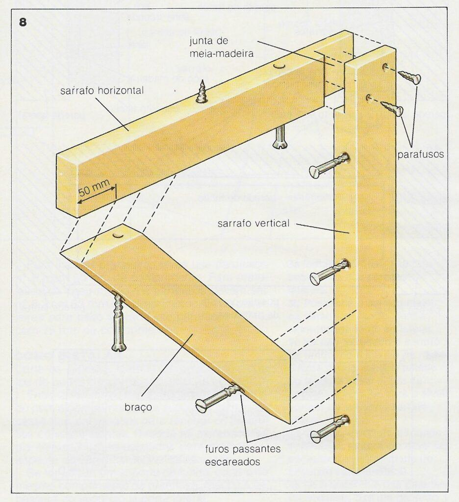 foto de instalação de prateleiras utilizando mão francesa de madeira