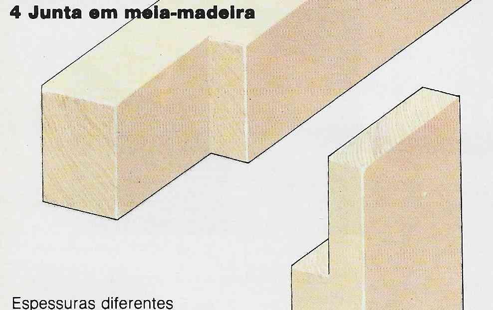 Foto ilustrativa do passo-a-passo para construir uma junta em meia-madeira com espessuras diferentes