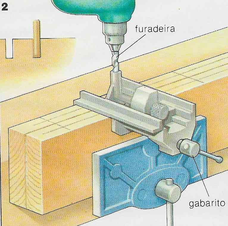 ilustração demonstrando a construção das juntas com cavilhas no passo 2