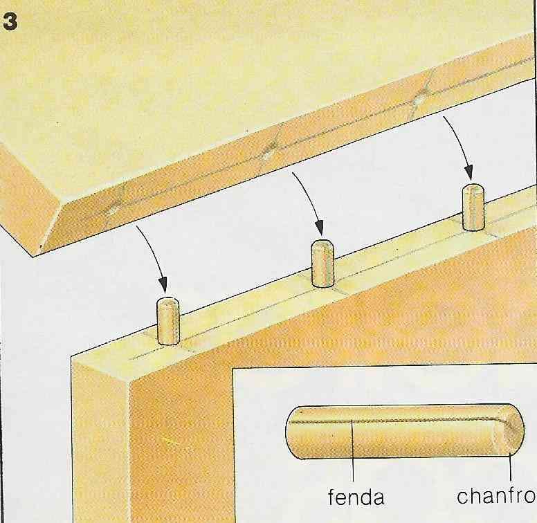 ilustração demonstrando a construção das juntas com cavilhas no passo 3