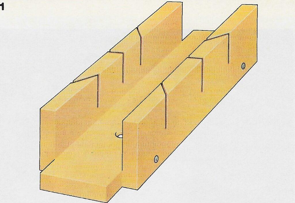 ilustração demonstrando o passo 1 da construção das juntas de meia esquadria