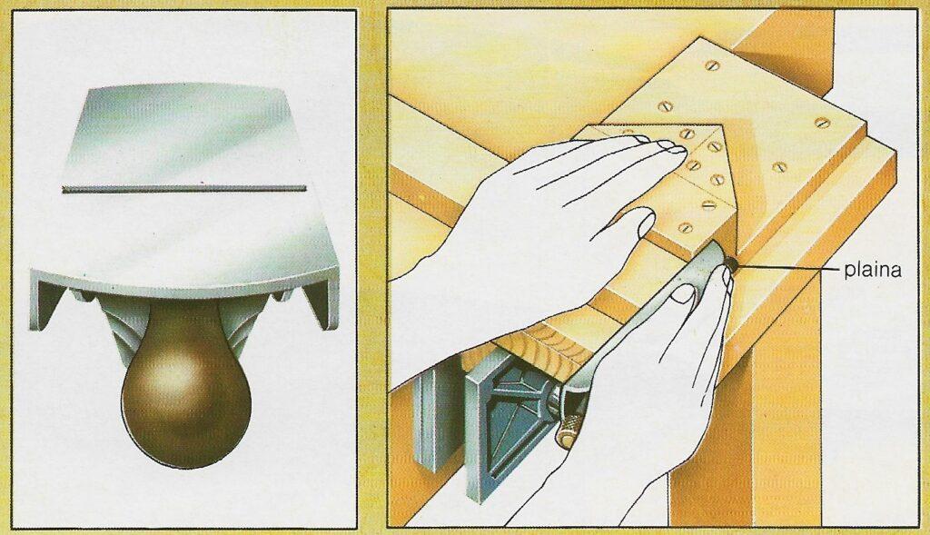 diagrama com instruções de uso da plaina