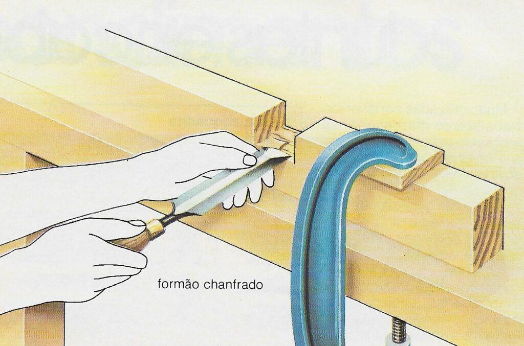 ilustração com instruções de uso do formão