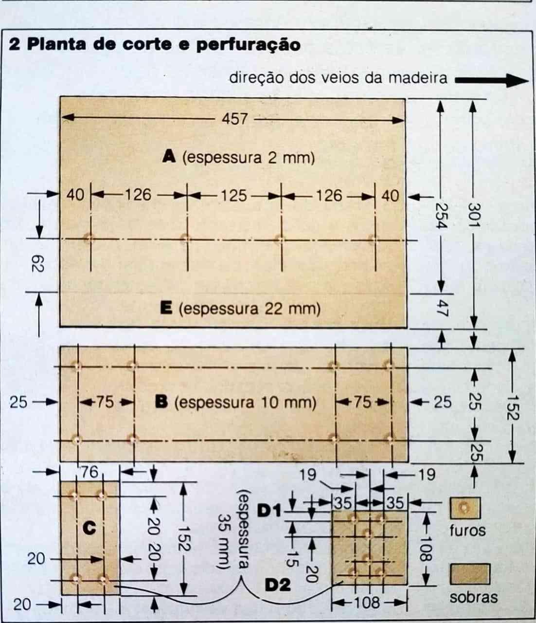 imagem ilustrando a planta de corte do Gabarito para Esquadrias