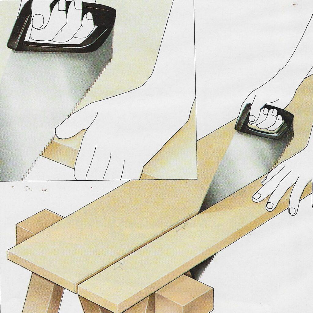 ilustração demonstrando passo-a-passo como guiar um corte utilizando serras e serrotes