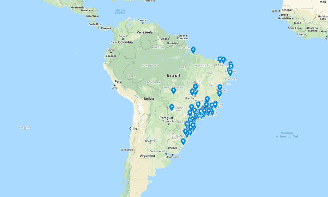 mapa de chalés no brasil