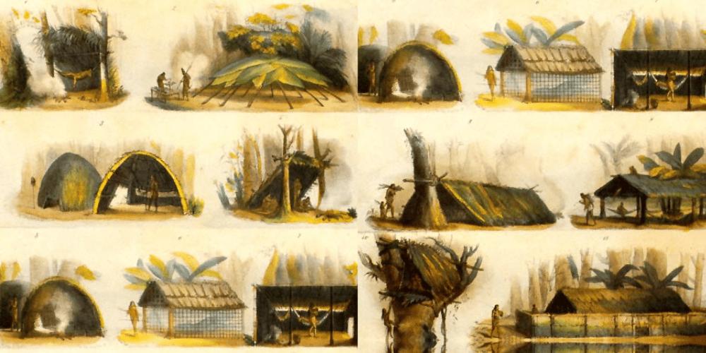 ilustração com os tipos de cabanas típicas do Brasil