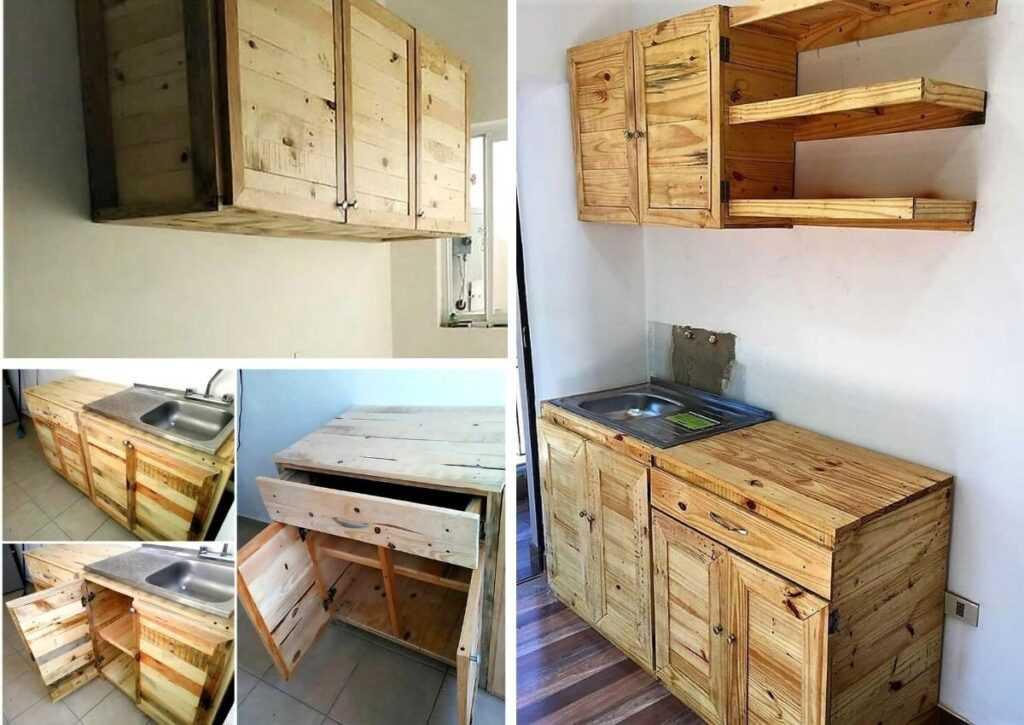 móveis de pallet - armário de cozinha de pallet
