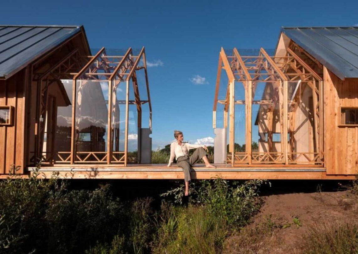 cabana de madeira móvei