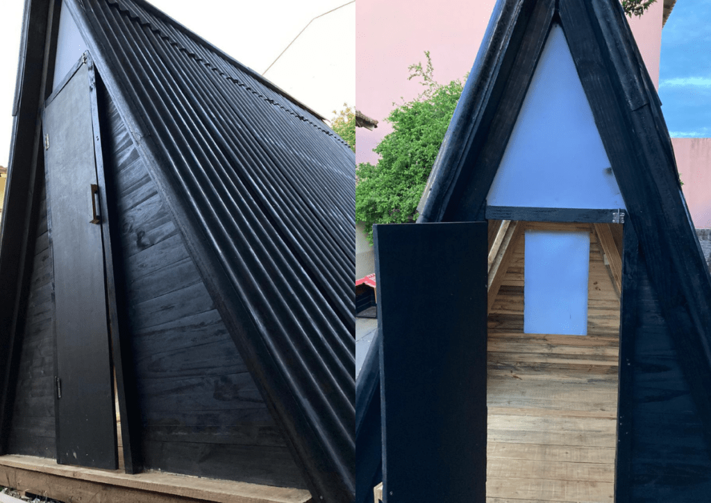 fachada do chalé de madeira