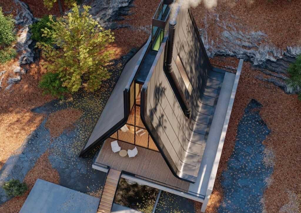 foto aérea do chalé ultra-moderno