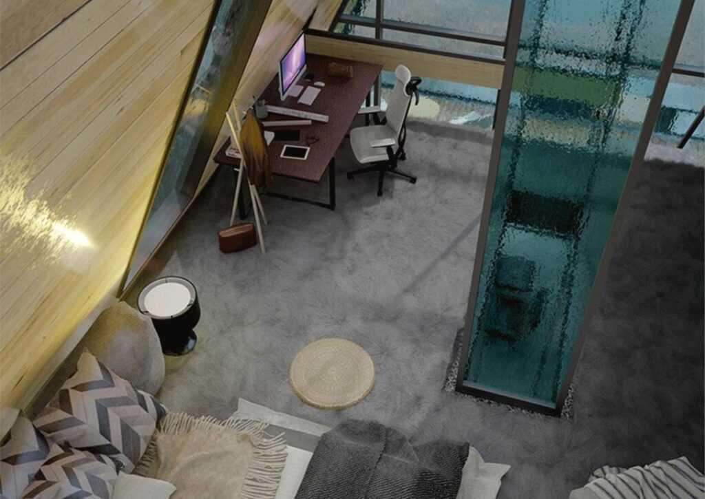 vista do mesanino sobre o quarto do chalé ultra-moderno