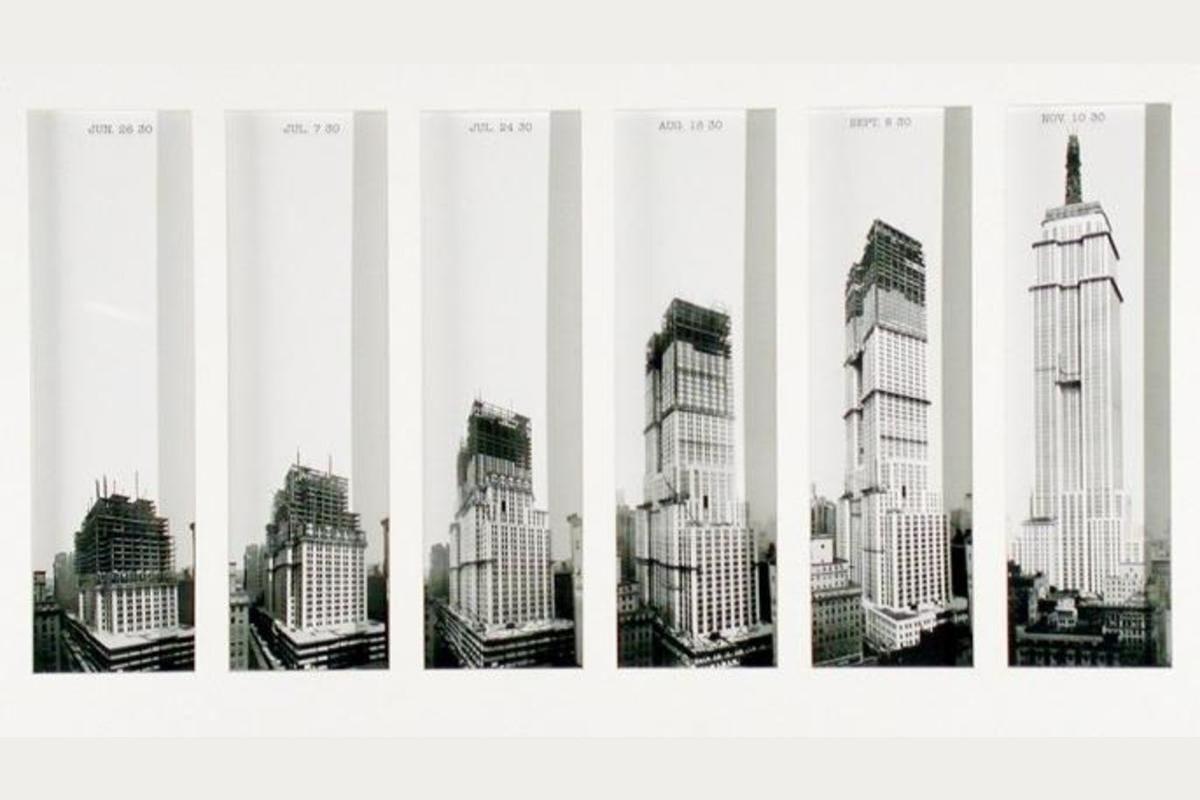 fases da construção do empire state building com steel frame