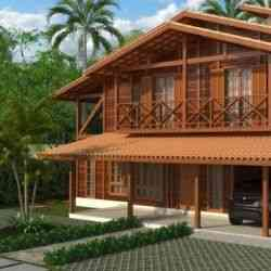 modelo de casa de madeira 3 quartos 2 pavimentos 3