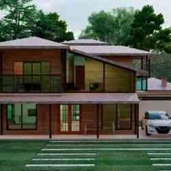 modelo de casa de madeira 4 quartos china