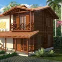 modelo de casa de madeira 2 quartos 2 pavimentos