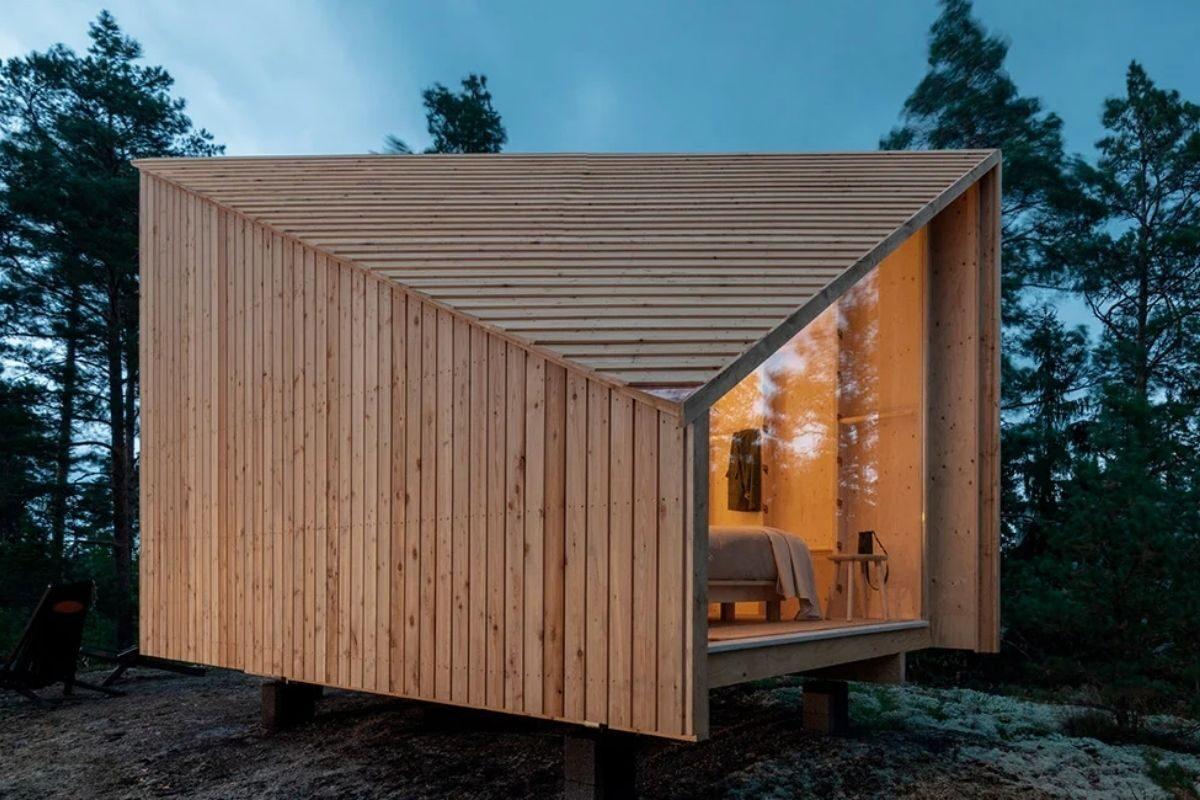cabana de madeira modular