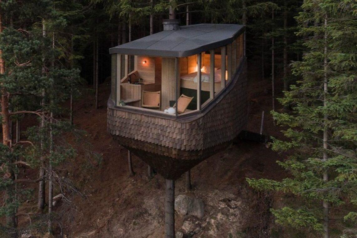 casa na arvore em forma de ninho