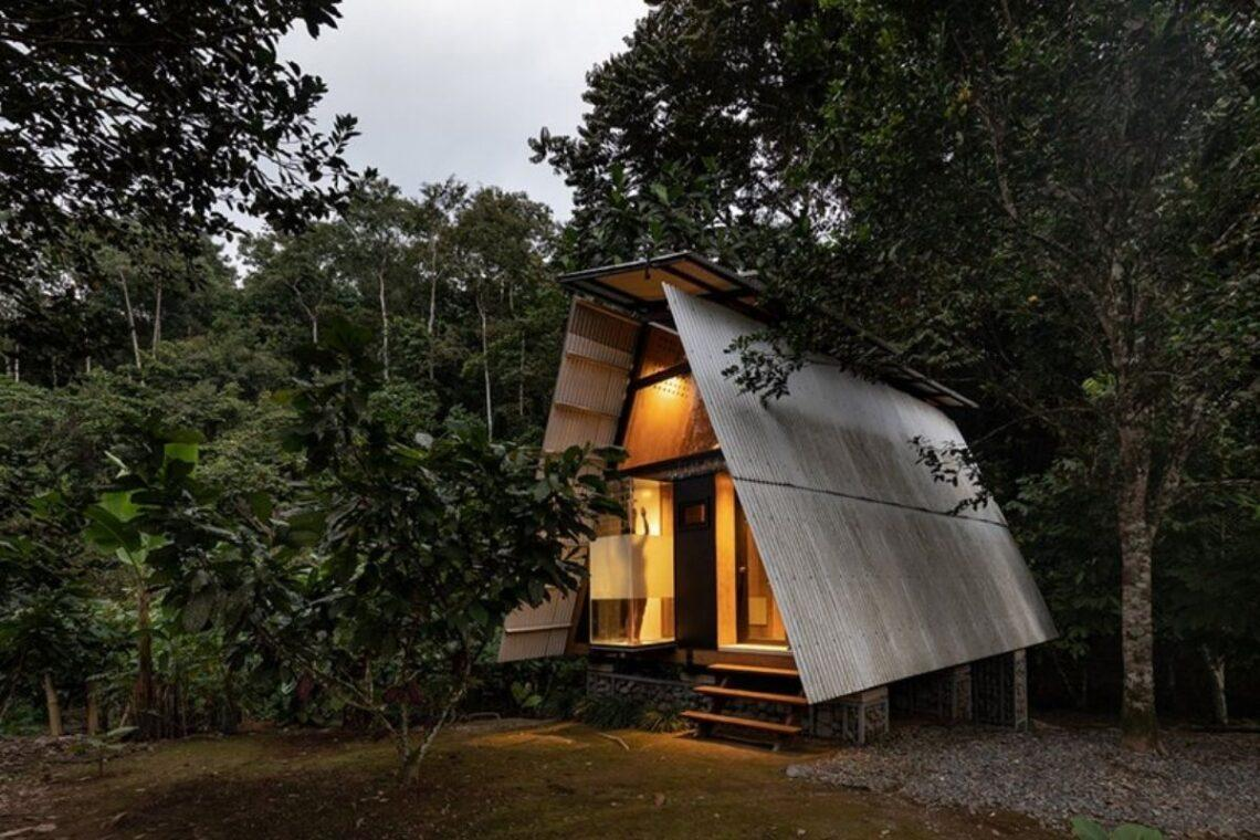 chalé de madeira sustentável