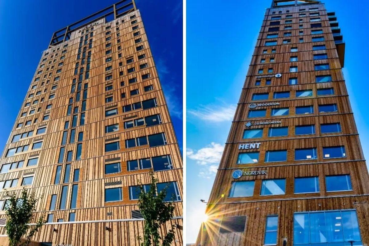 construção de madeira fachada