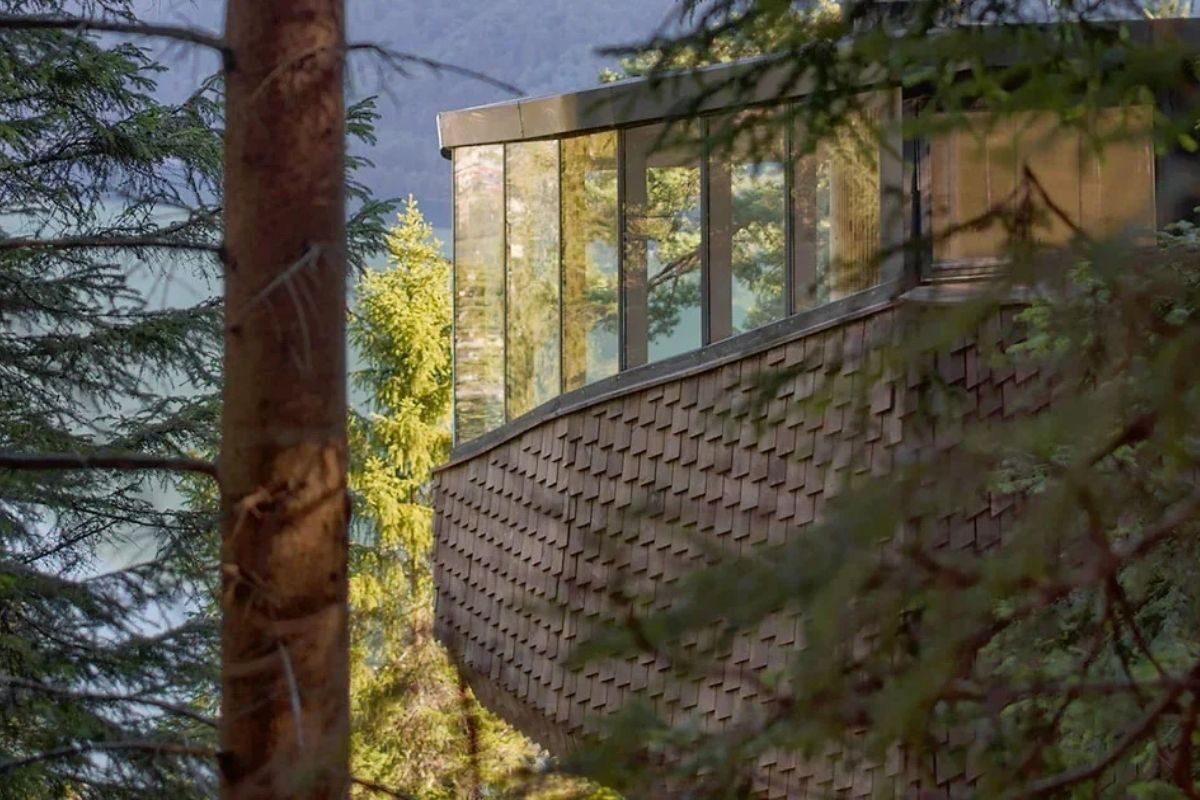 casa na árvore em forma de ninho foto 1