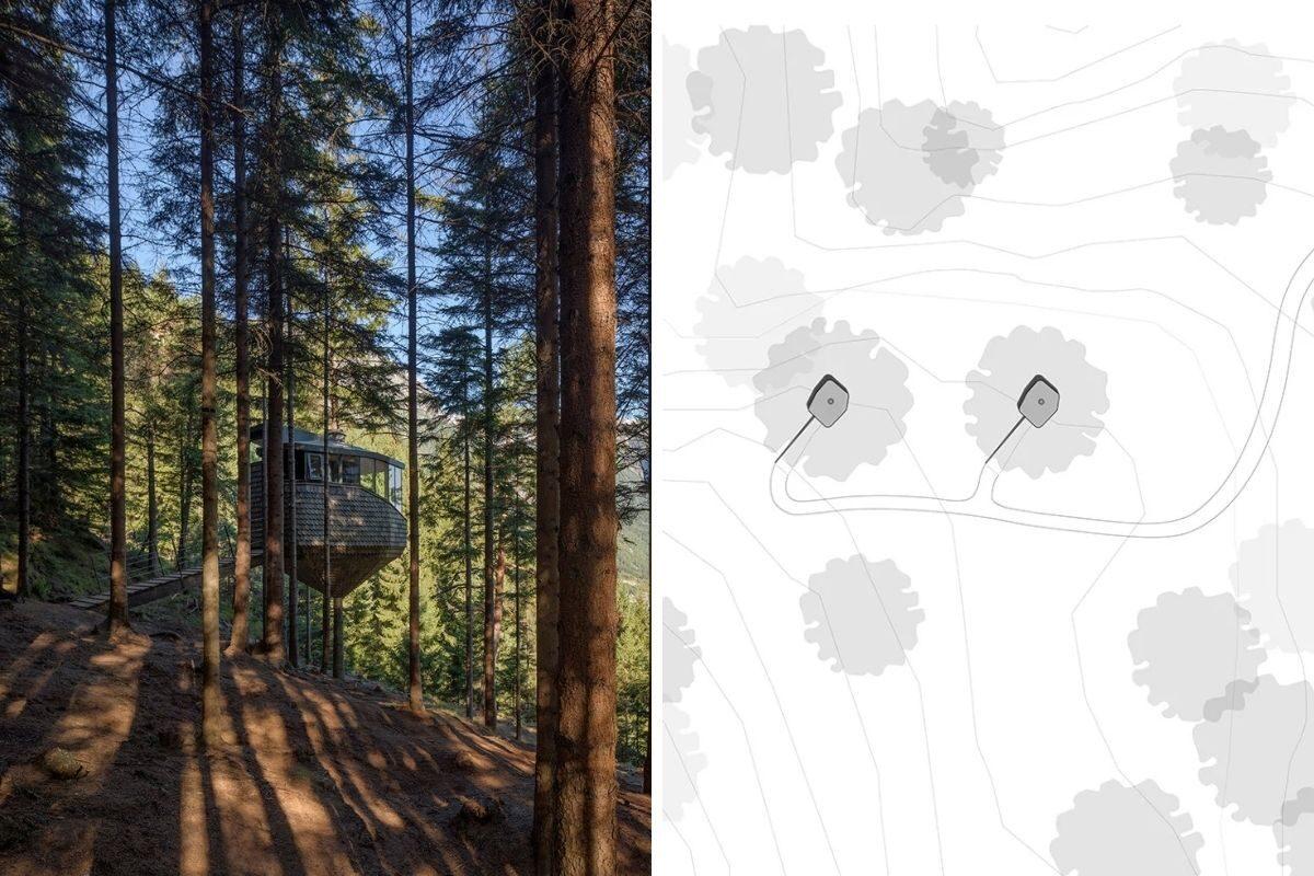 casa na árvore em forma de ninho foto 11