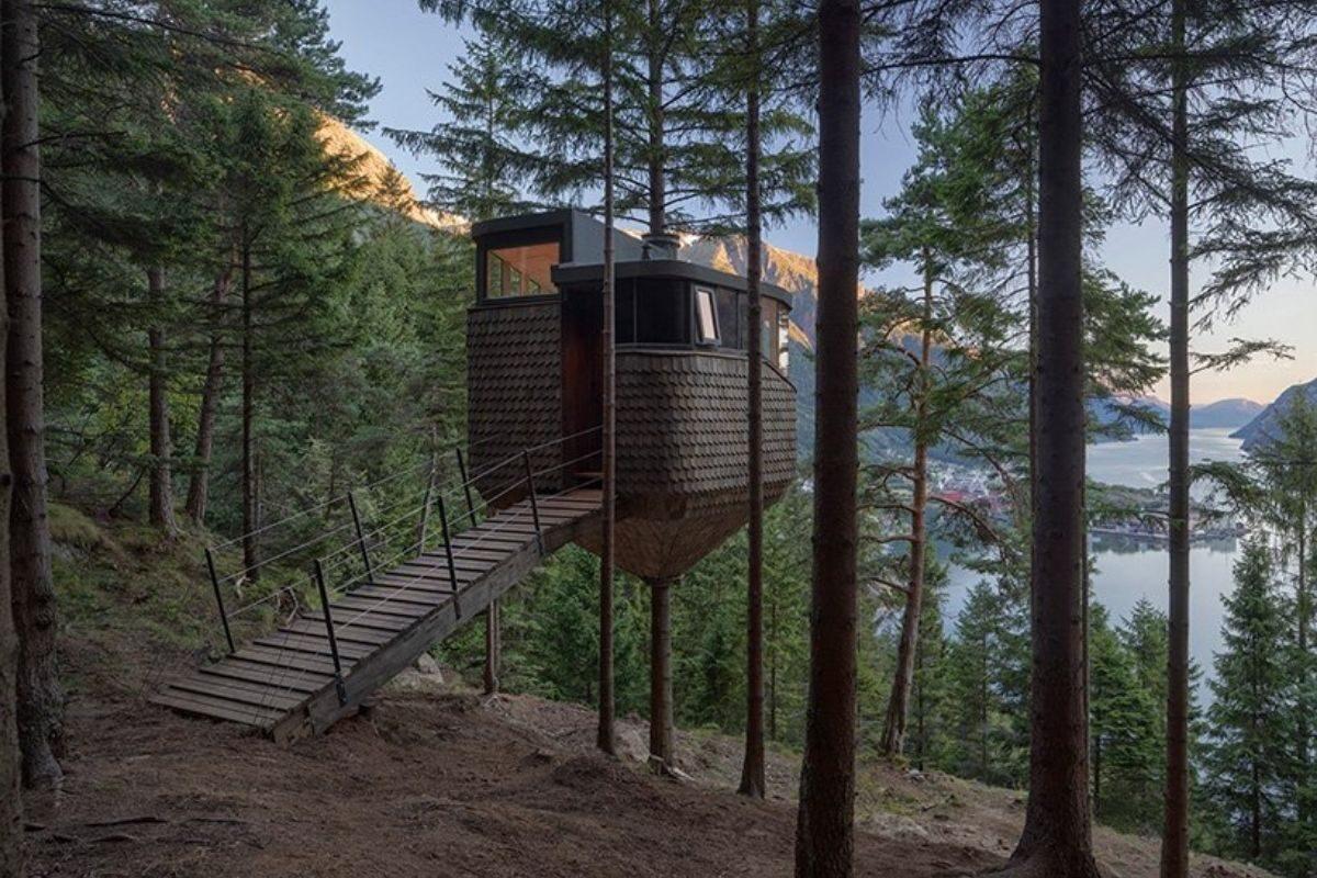 casa na árvore em forma de ninho foto 9
