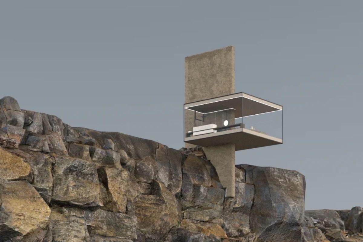 mini casa sobre penhasco