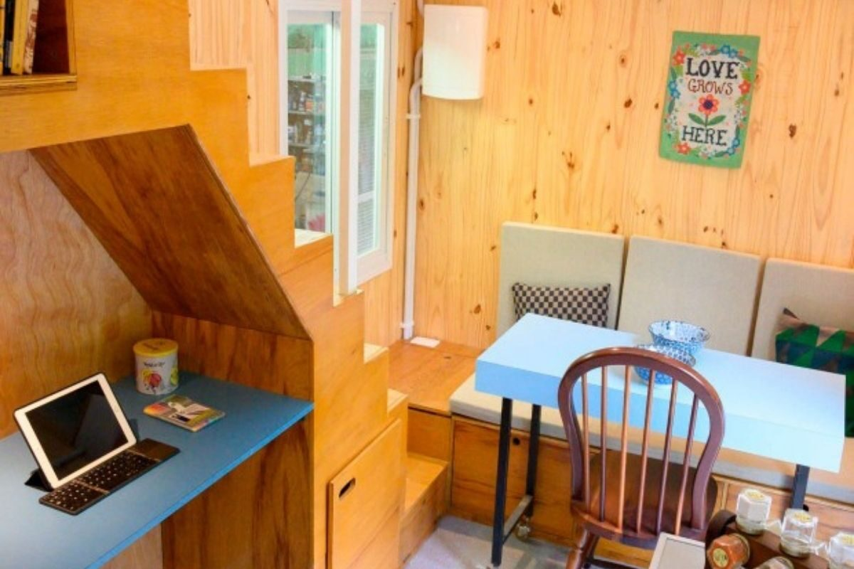Mini Casa Tiny Brasil sala de estar