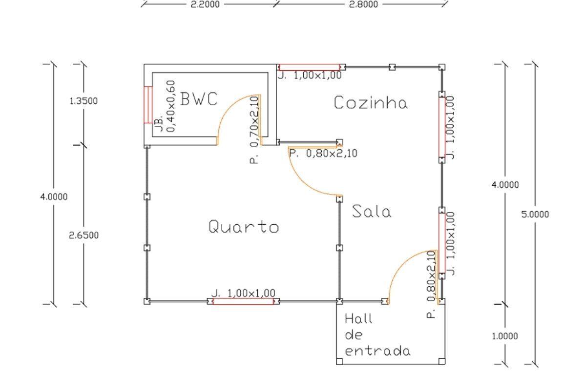 Projetos de casas de madeira 1 quarto 22 m2 1