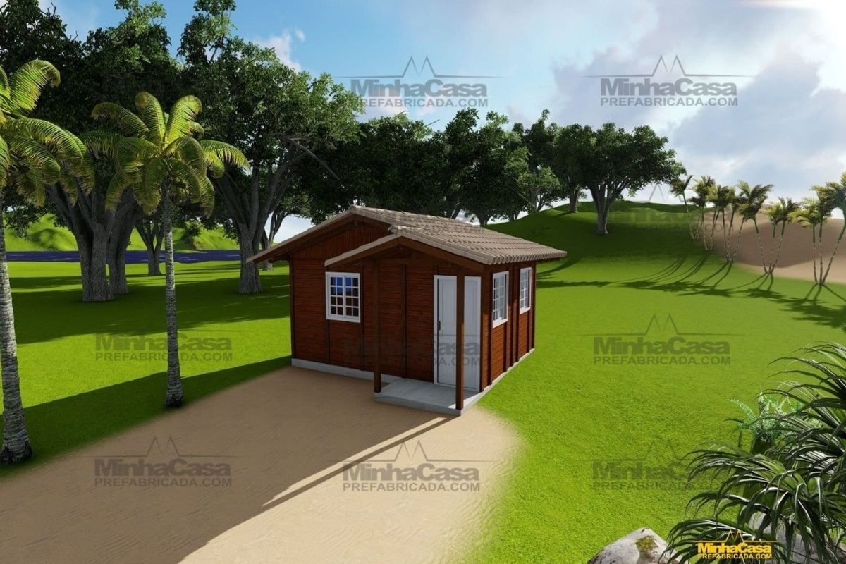 Projetos de casas de madeira 1 quarto 22 m2 2