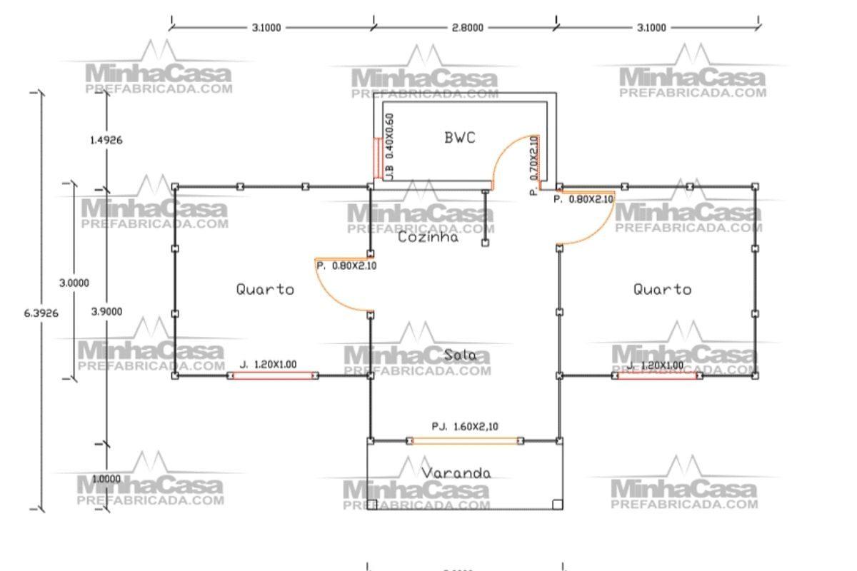 Projetos de casas de madeira 2 quartos 36 m2 1