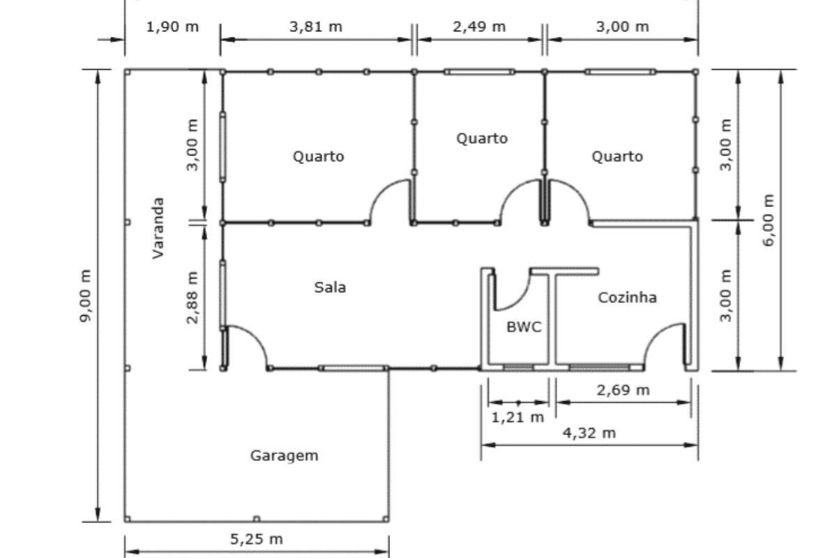 Projetos de casas de madeira 3 quartos 84 m2 1