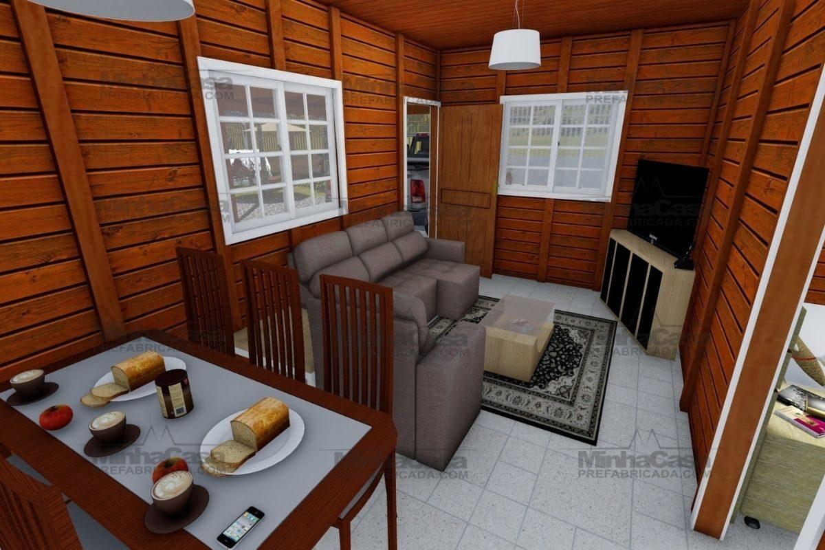 Projetos de casas de madeira 3 quartos 84 m2 3