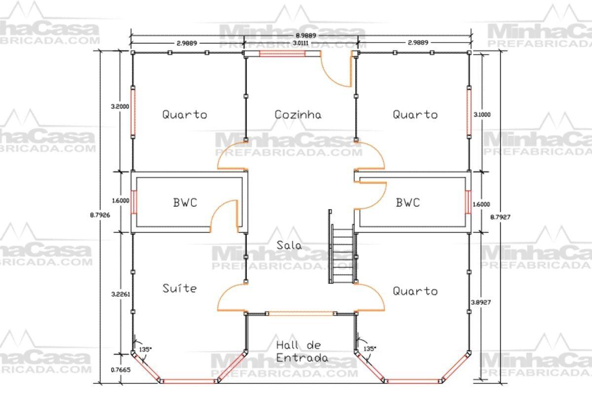 Projetos de casas de madeira 4 quartos 107 m2 1