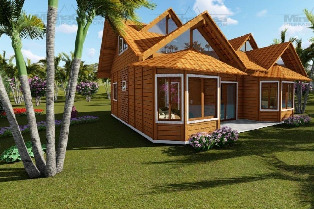 Projetos de casas de madeira 4 quartos 107 m2 3