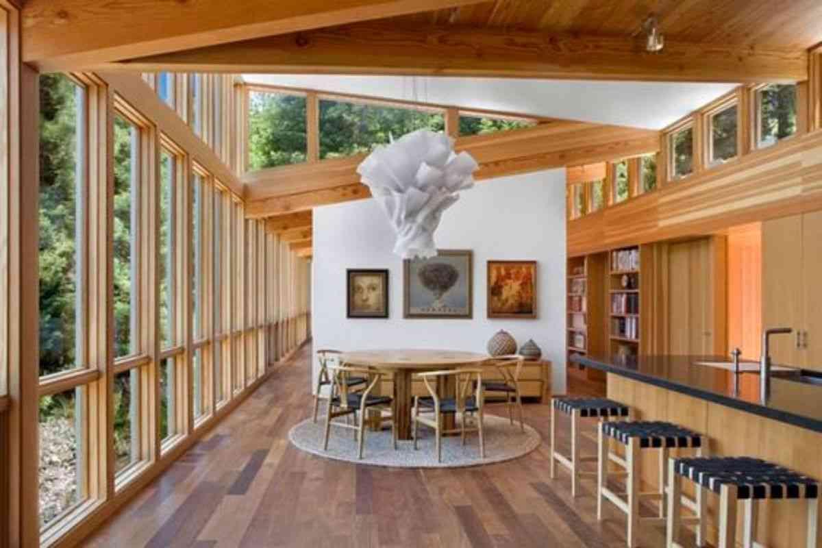 casa de madeira e vidro 17