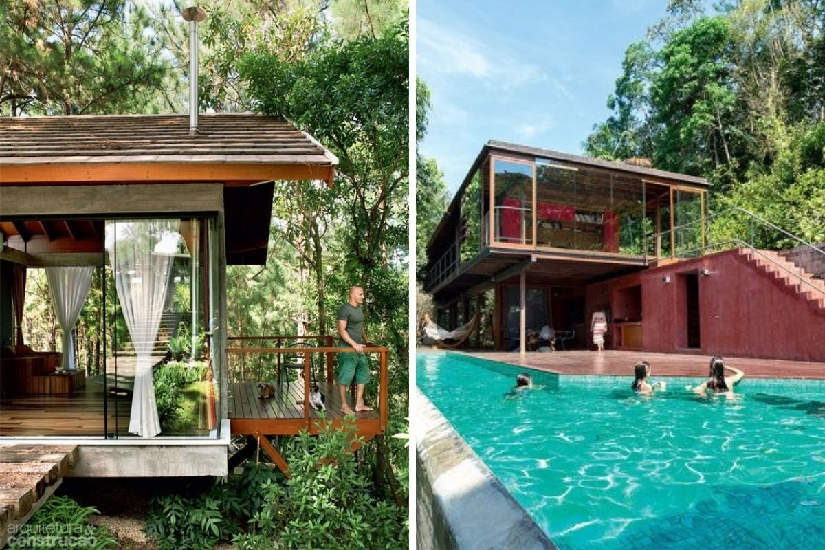 casa de madeira e vidro 26