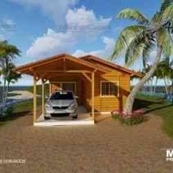 casa de madeira pré-fabricada de 88 m²