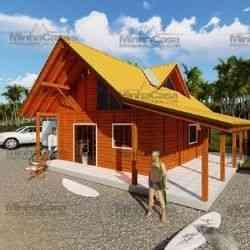 casa de madeira pré-fabricada de 110 m²