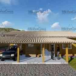 casa de madeira pré-fabricada de 111 m²