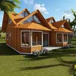 casa de madeira pré-fabricada de 107 m²